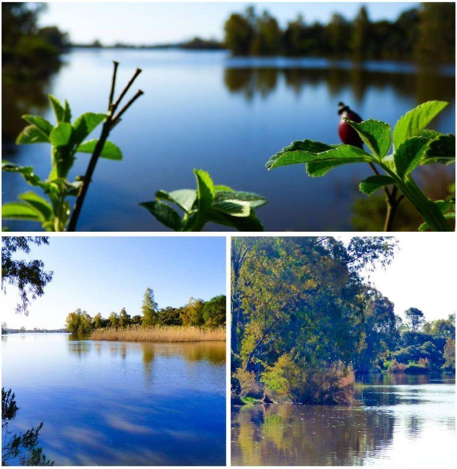 Paisaje de sierra de Córdoba junta a lago