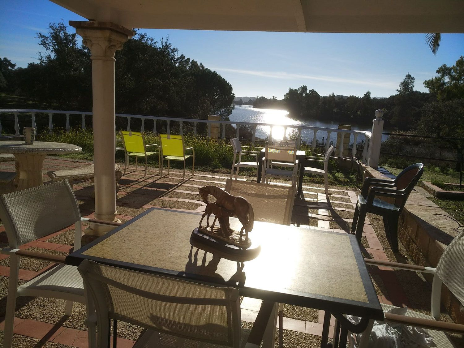 Views from the terrace of our rural farm in Cordoba on the shores of a lake